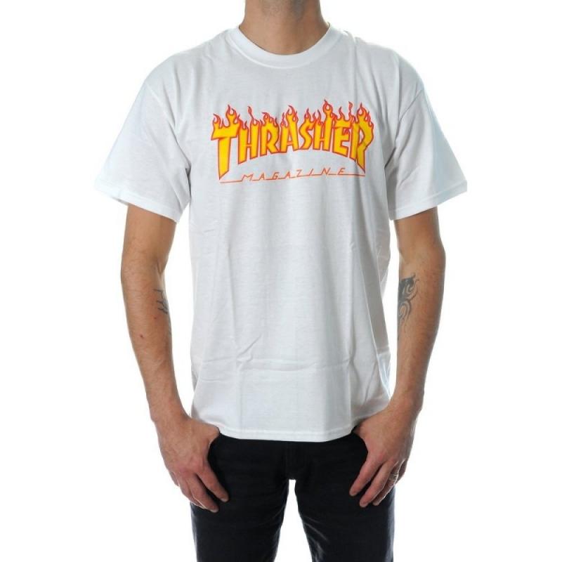thrasher flame white t shirt skateshop 24 7 online. Black Bedroom Furniture Sets. Home Design Ideas
